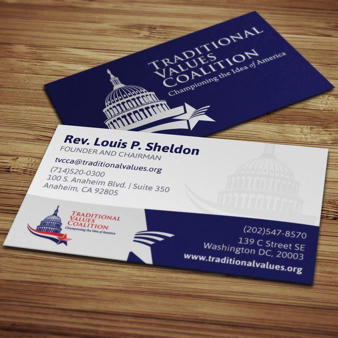 Traditional Values Coalition Business Card